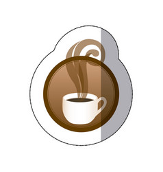 brown round symbol of coffee cup vector image