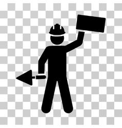 Builder with brick icon vector