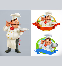 cook chef character and label 3d icon set vector image vector image