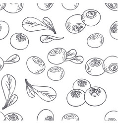 hand drawn outline seamless pattern with blueberry vector image vector image
