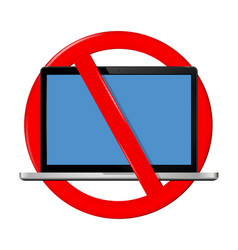 not use laptop sign vector image