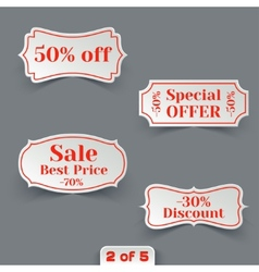 Set of Sale Paper Retro Labels vector image
