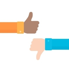Thumbs up and down icon in flat style vector