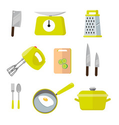 vintage kitchen colorful tools set of tools for vector image vector image