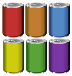 Aluminum cans in six colors vector