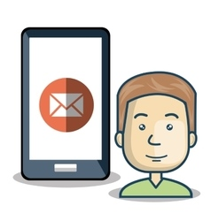 avatar man with smartphone device vector image
