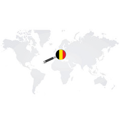belgian flag in magnifying glass vector image