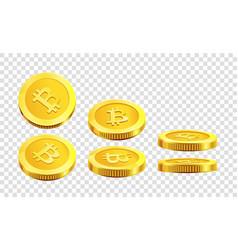 bitcoin golden coins internet virtual crypto vector image