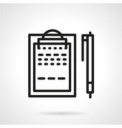 Black line clipboard with pen icon vector image