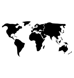 Black simplified world map divided to continents vector image