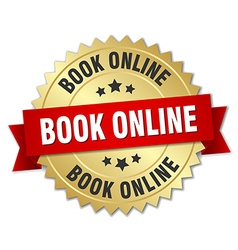 book online 3d gold badge with red ribbon vector image