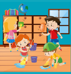 boys and girls cleaning room together vector image