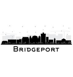 bridgeport connecticut city skyline with black vector image