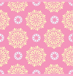 Bright mandala pattern in coral with white vector