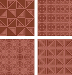 Brown seamless triangle pattern background set vector