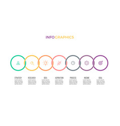 Business infographics timeline with 7 options vector