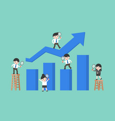 Business people with graph data analysis concept vector