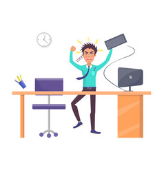 Businessman throwing keyboard vector