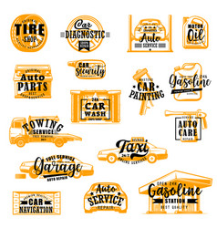 Car service isolated icons lettering vector