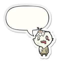 Cartoon zombie and speech bubble sticker vector