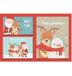 celebration happy christmas cards collection vector image