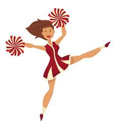cheerleader in uniform with pompoms dancing vector image