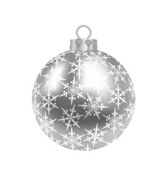 Christmas new year s silver ball with a pattern vector