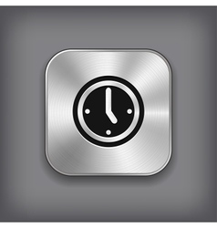 Clock icon - metal app button vector image