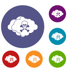 Cloud with skull and bones icons set vector