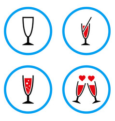 cocktail glass rounded icons vector image