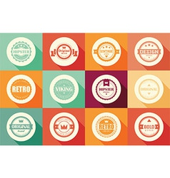 Collection of vintage retro labels badges ribbon vector