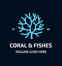 Coral and fishes logo vector