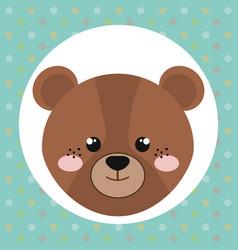 cute bear head tender character vector image