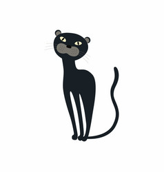 cute black panther sitting vector image