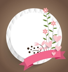 Cute card with ribbon and floral bouquets vector image