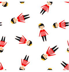 cute girl icon seamless pattern background vector image