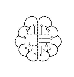 Dotted shape anatomy brain with circuits digital vector