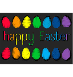 easter holiday background with rainbow eggs vector image