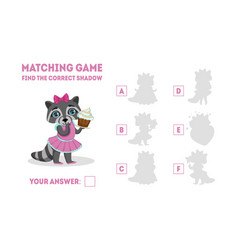 Educational matching game for preschool kids find vector