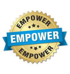 Empower round isolated gold badge vector