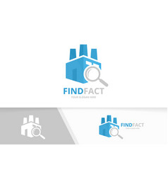 factory and loupe logo combination vector image