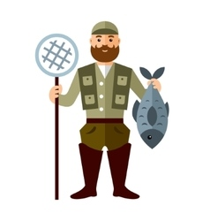 Fishing concept Fisherman with big fish vector image