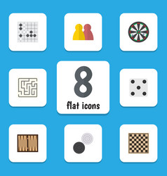 Flat icon play set of arrow chequer dice and vector