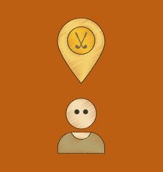 flat shading style icon golfer logo vector image