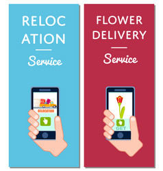 Flower delivery and relocation service flyers vector