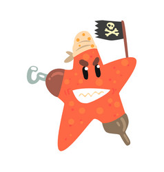 Funny cartoon starfish pirate holding black flag vector