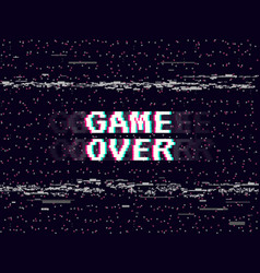 Game over glitch background retro game backdrop vector