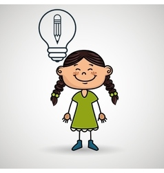 girl idea gears icon vector image