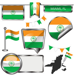 glossy icons with flag of miami usa vector image