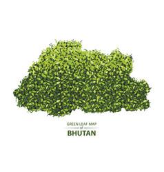 Green leaf map of bhutan of a vector